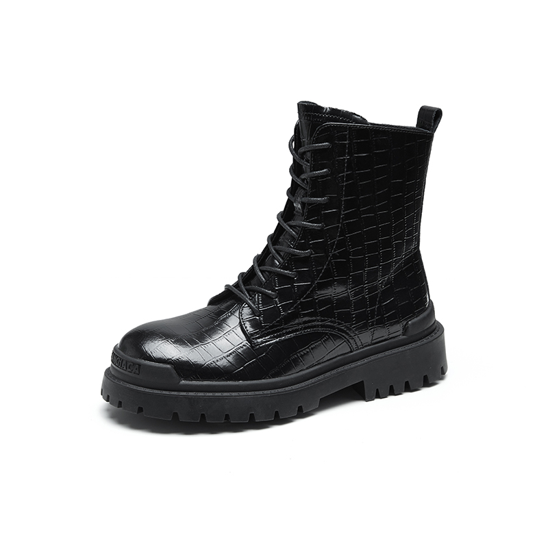 2021 new round head lace up flat heel boots Martin boots