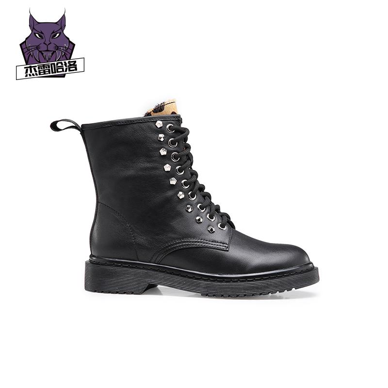 杰雷哈洛秋冬马丁靴女英伦低跟百搭机车靴系带ins潮黑色中筒靴