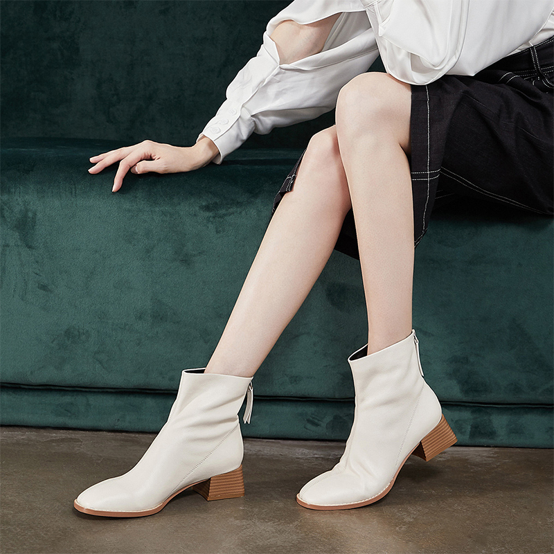 Jer Harlow workplace womens shoes autumn winter white short tube medium heel short boots thick heel fashion boots j14af06476wf
