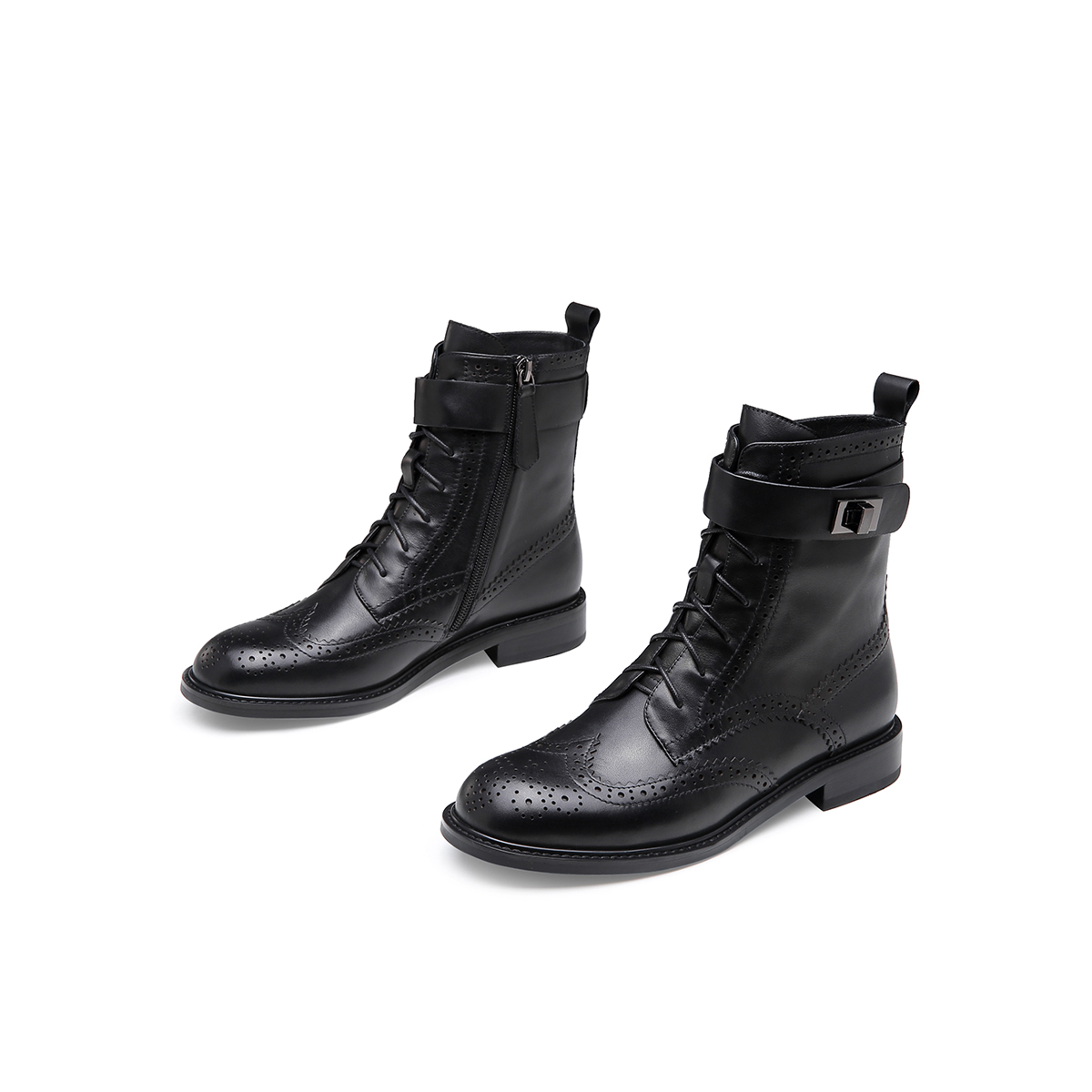 英伦范马丁靴新款牛皮短靴子女布洛克拉链低跟靴