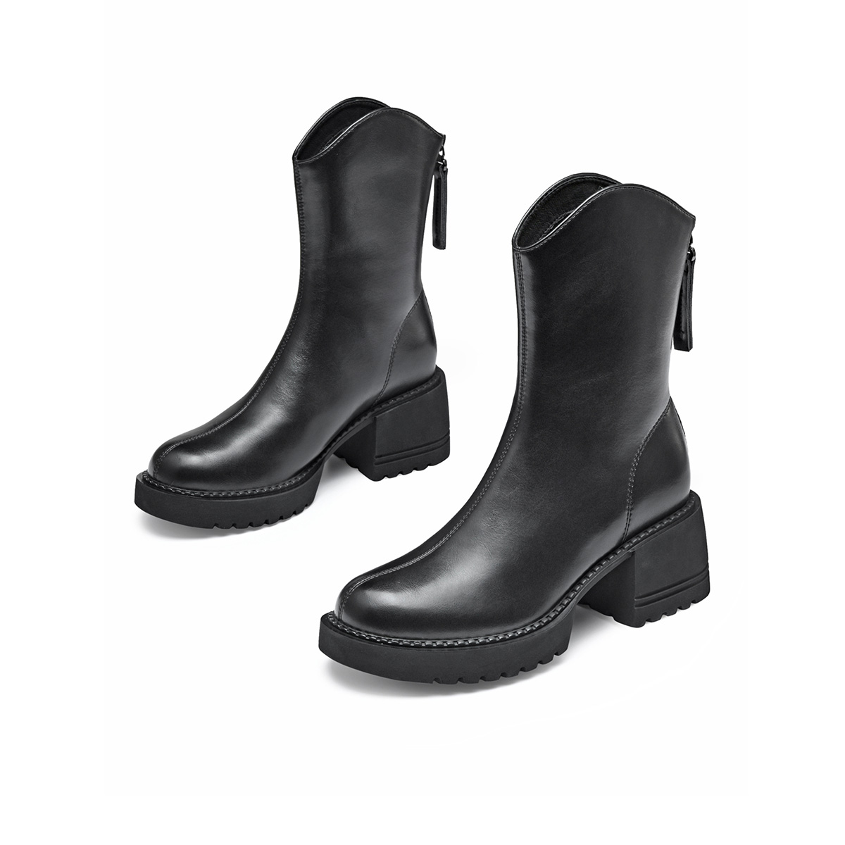【时装靴】2021秋冬新款马丁靴拉链厚底商务通勤款女靴子