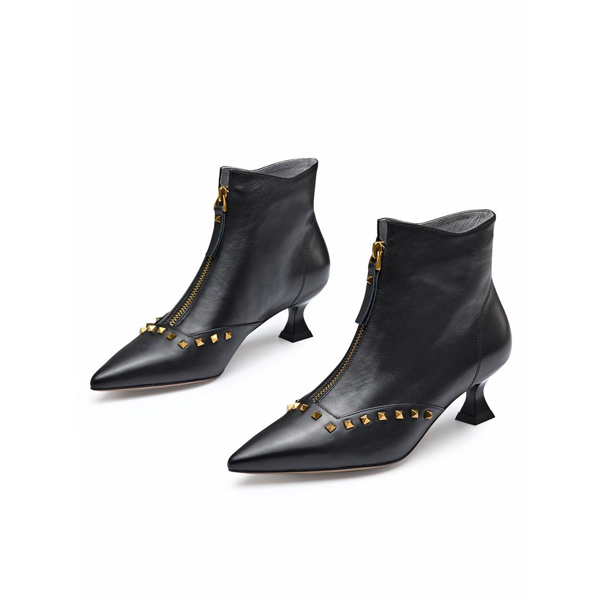 【及踝靴】铆钉牛皮前拉链细跟女时装靴女靴