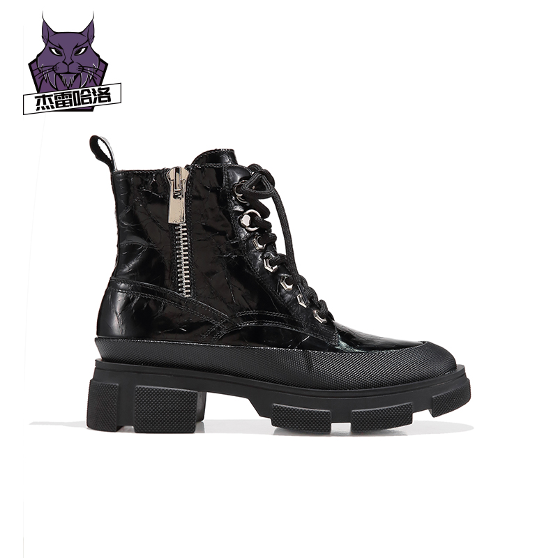 Jerichalo Martin boots womens British style thick bottom handsome motorcycle short boots womens autumn winter side zipper black boots
