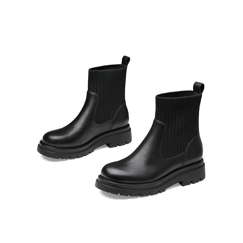 杰雷哈洛职场女鞋 秋冬黑色短筒短靴女切尔西靴袜靴 J24FF28770PA
