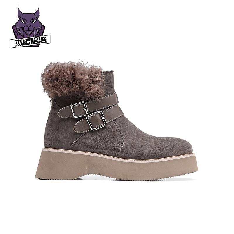 杰雷哈洛加绒马丁靴女英伦风厚底帅气短靴女秋冬款系带靴子