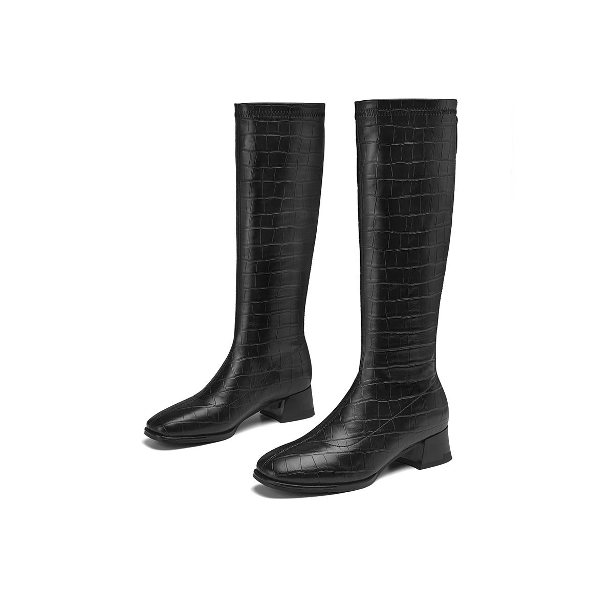 【马丁靴】2021秋冬新款长靴后拉链粗跟百搭女靴马丁靴