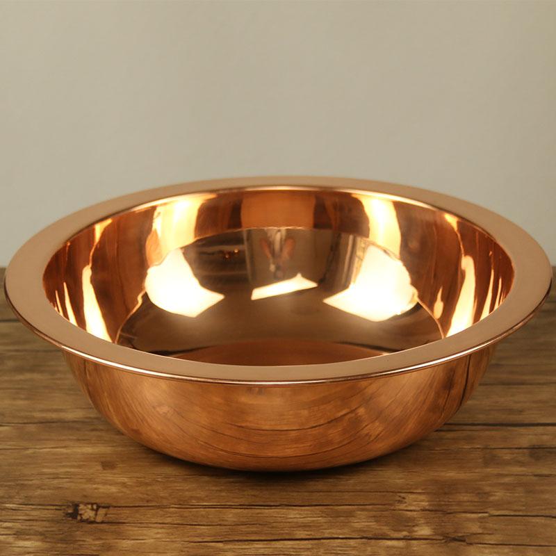 紫铜盆纯铜家用加厚结婚喜盆用品老式复古仿古洗脸盆卫生间卫浴柜图片