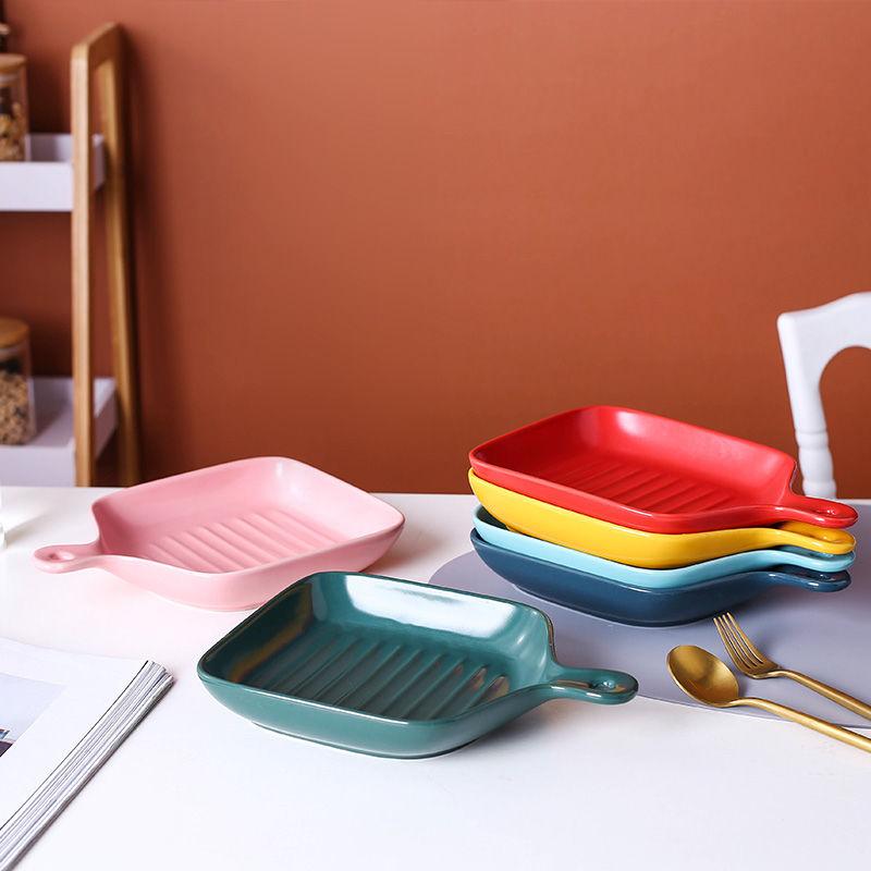 烤盘北欧风餐具陶瓷盘微波炉用创意盘子家用烘焙芝士焗饭烤箱专用