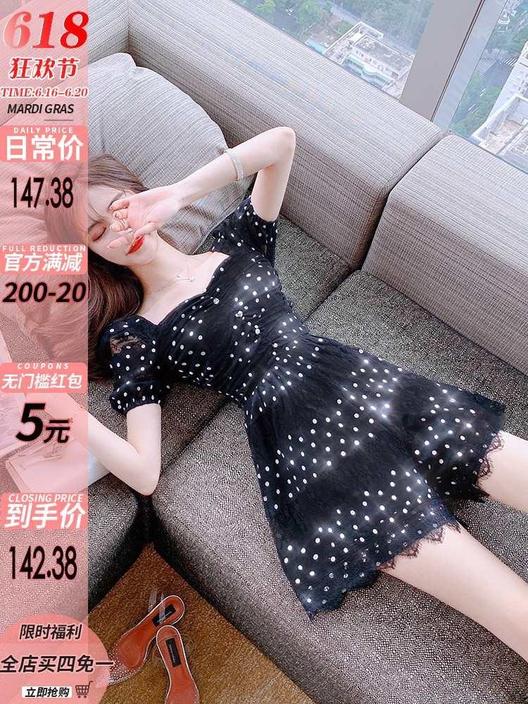 蕾丝连体裤女2020夏装新款气质女神范显瘦高腰阔腿连身裤裙