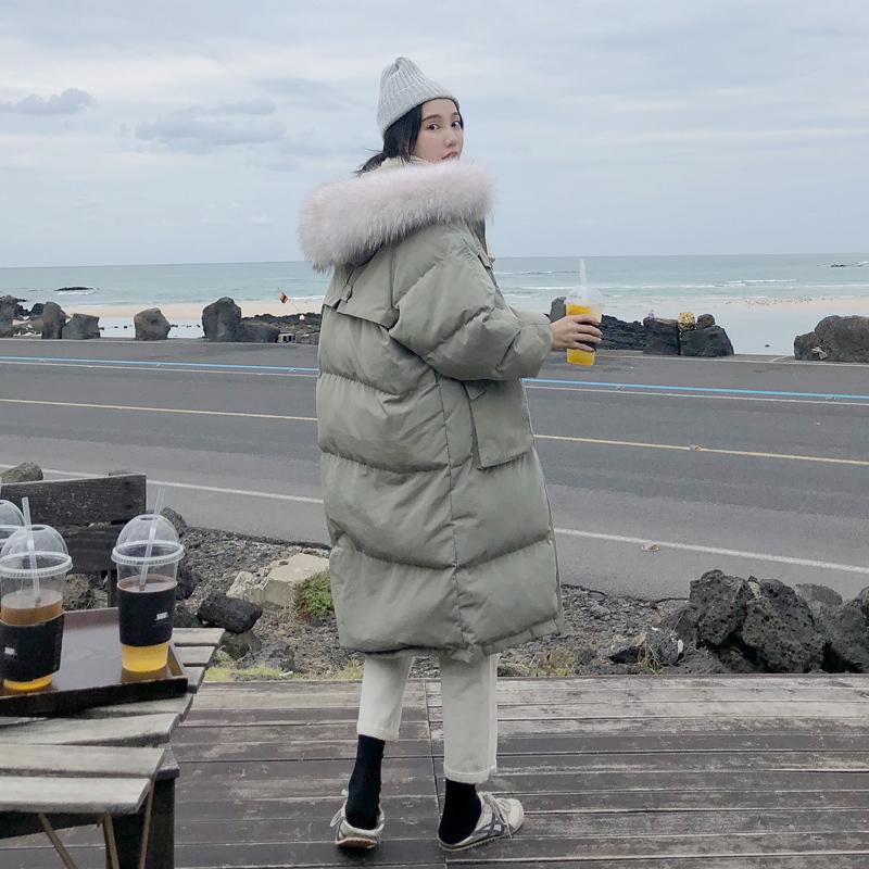 棉衣女中长款2019冬季新款韩版宽松学生面包服过膝羽绒棉袄bf外套