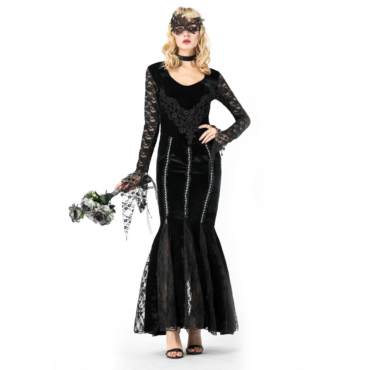 Halloween Black Lace Edge vampire roleplaying costume Tuxedo Dress long dress