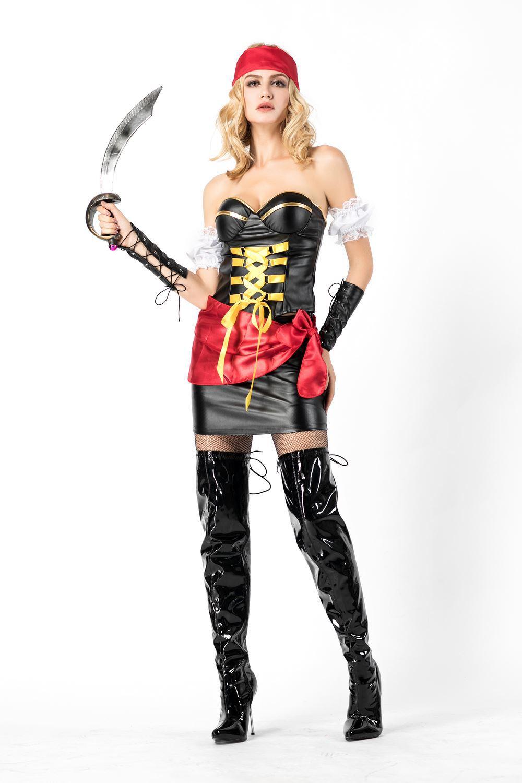 海盗船长cosplay角色扮演舞台演出服抹胸海盗皮款万圣节女