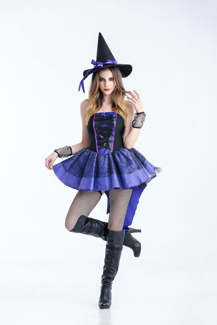 Game UNIFORM Halloween Dress Witch Costume role play stage costume new long witch