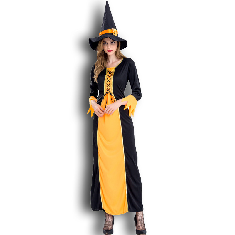 Halloween Orange fairy tale classic witch role play costume bar theme party stage costume girl