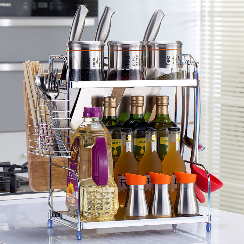 厨房置物架落地2层调味料架调料架刀架菜板架厨房用品用具收纳架