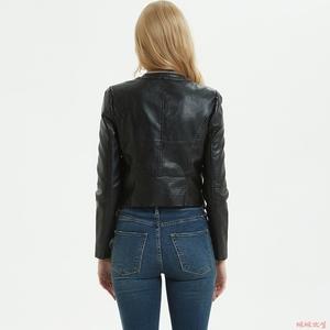 2020春秋新款女式短款修身皮衣圆领双拉链PU水洗皮短外套机车夹克