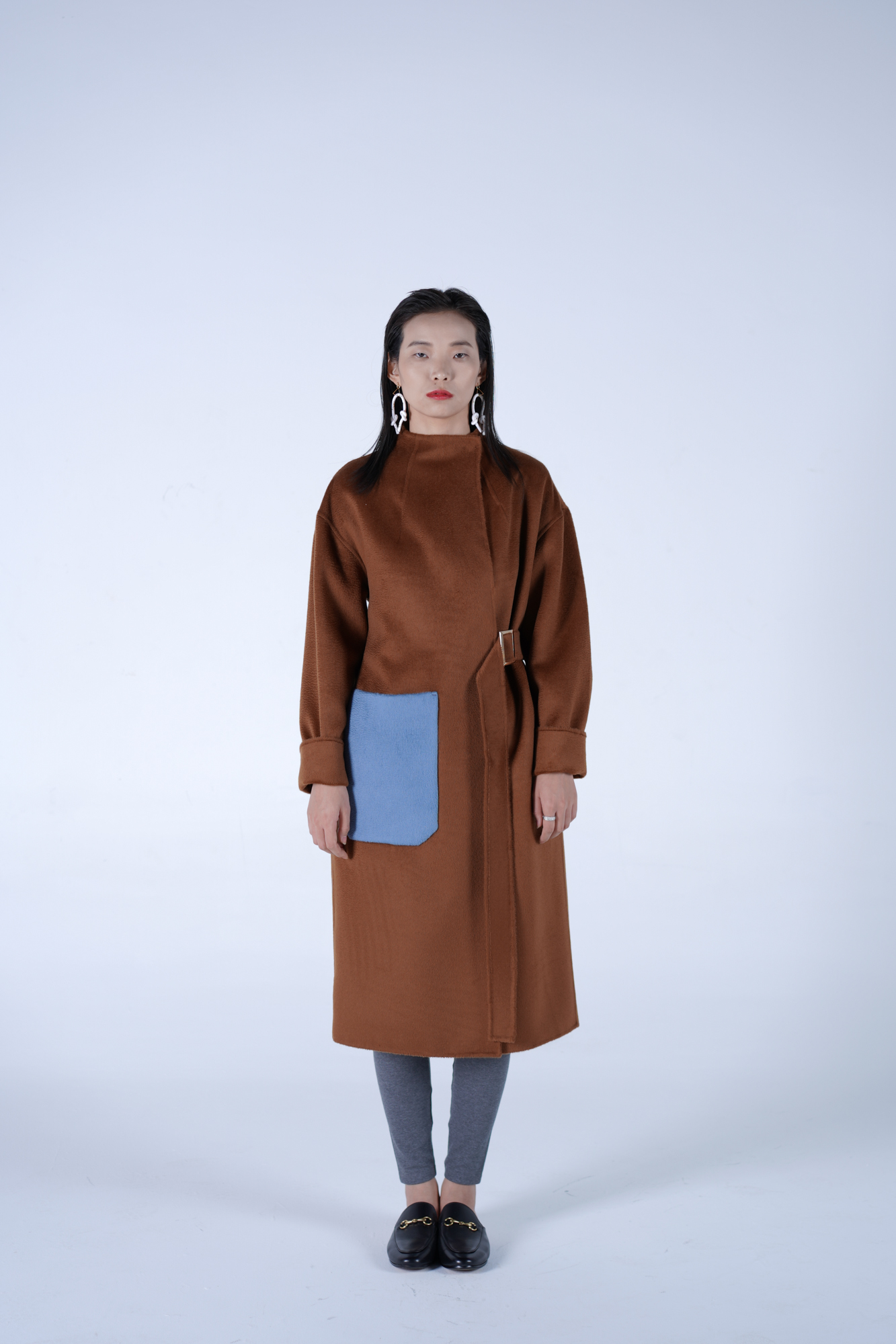 Bright wool blended cashmere water corrugated double-sided high collar lace up coat