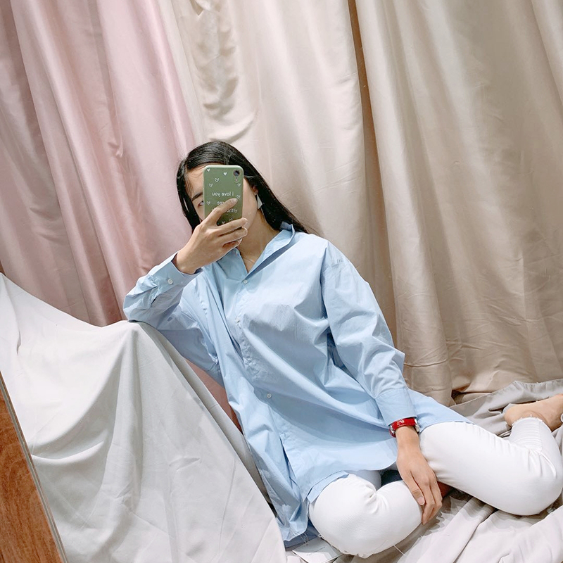陈陈家2020新款休闲韩版长款衬衫连衣裙时尚细条纹前短后长天蓝色