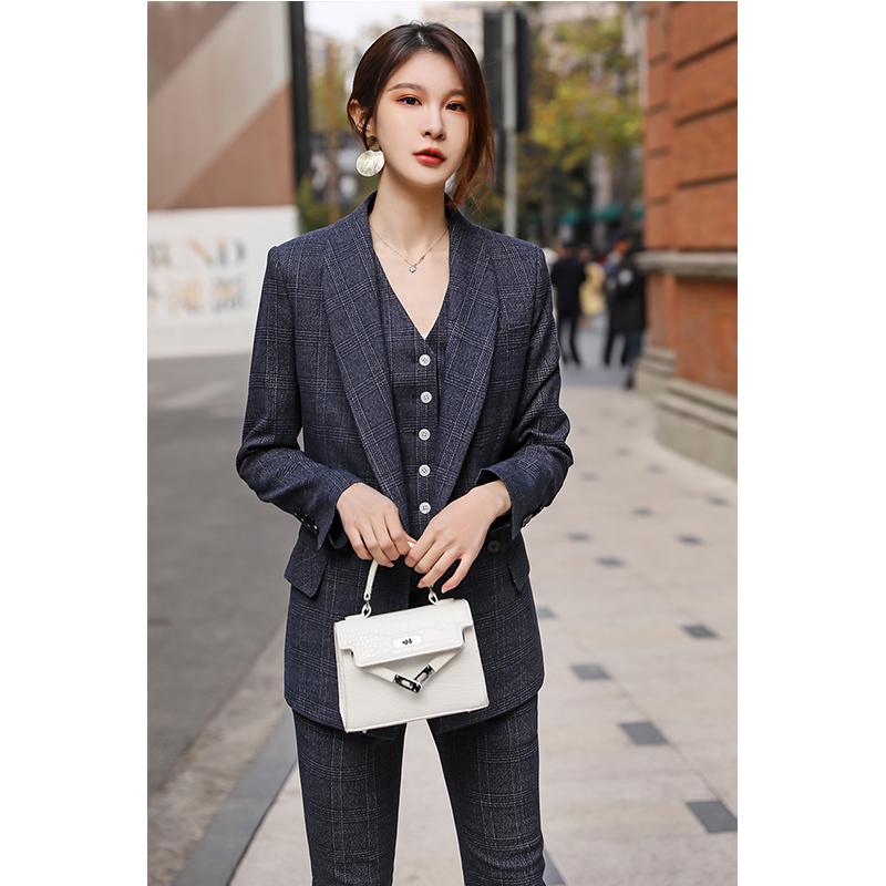 春夏女西装套装藏青色格子气质职业装女神时尚三件正装职场工作服