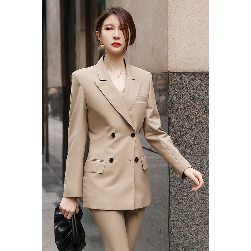 Summer Khaki double breasted womens suit Korean fashion temperament goddess style slim casual three piece suit