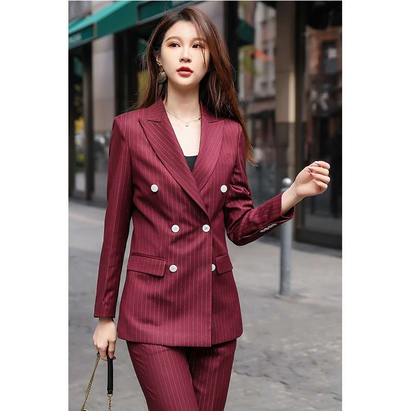 New double breasted wine red stripe suit suit for women
