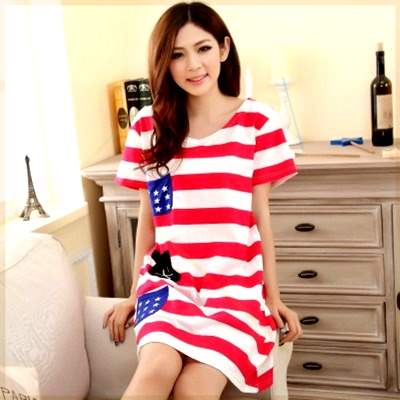 2021 pajamas womens summer nightdress can be worn outside skirt cotton short sleeve thin medium and long skirt pregnant women one-piece g less