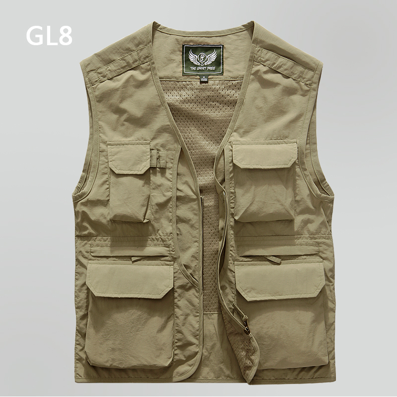 GL8 spring tooling vest men's outdoor mountaineering, horse clip, fishing photography, shoulder, quick drying mesh vest, multiple pockets