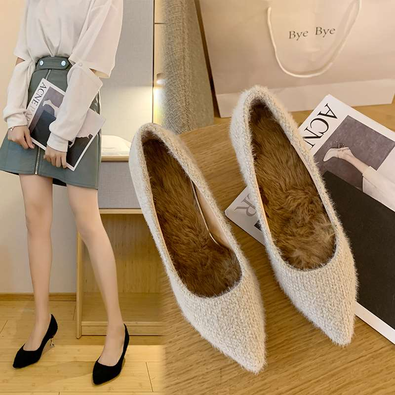 Womens high heel womens shoes womens single shoes thin heel shallow mouth suede pointed autumn and winter versatile and fluffy