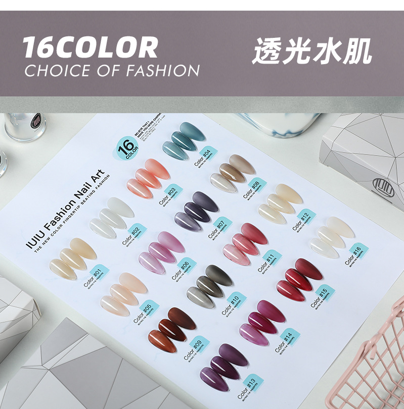 IUIU2019 nail polish, manicure, functional plastic, frosted, sequins, toughening, and non washing seal, reinforcement.