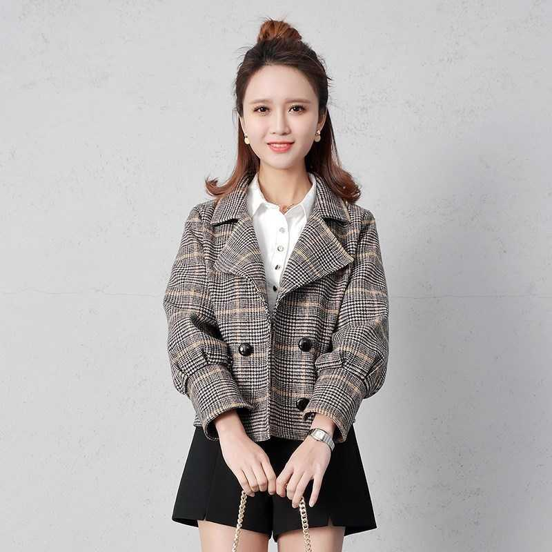 Small short woolen coat 2019 autumn new Plaid Casual Short suit spring and autumn Nizi top female.