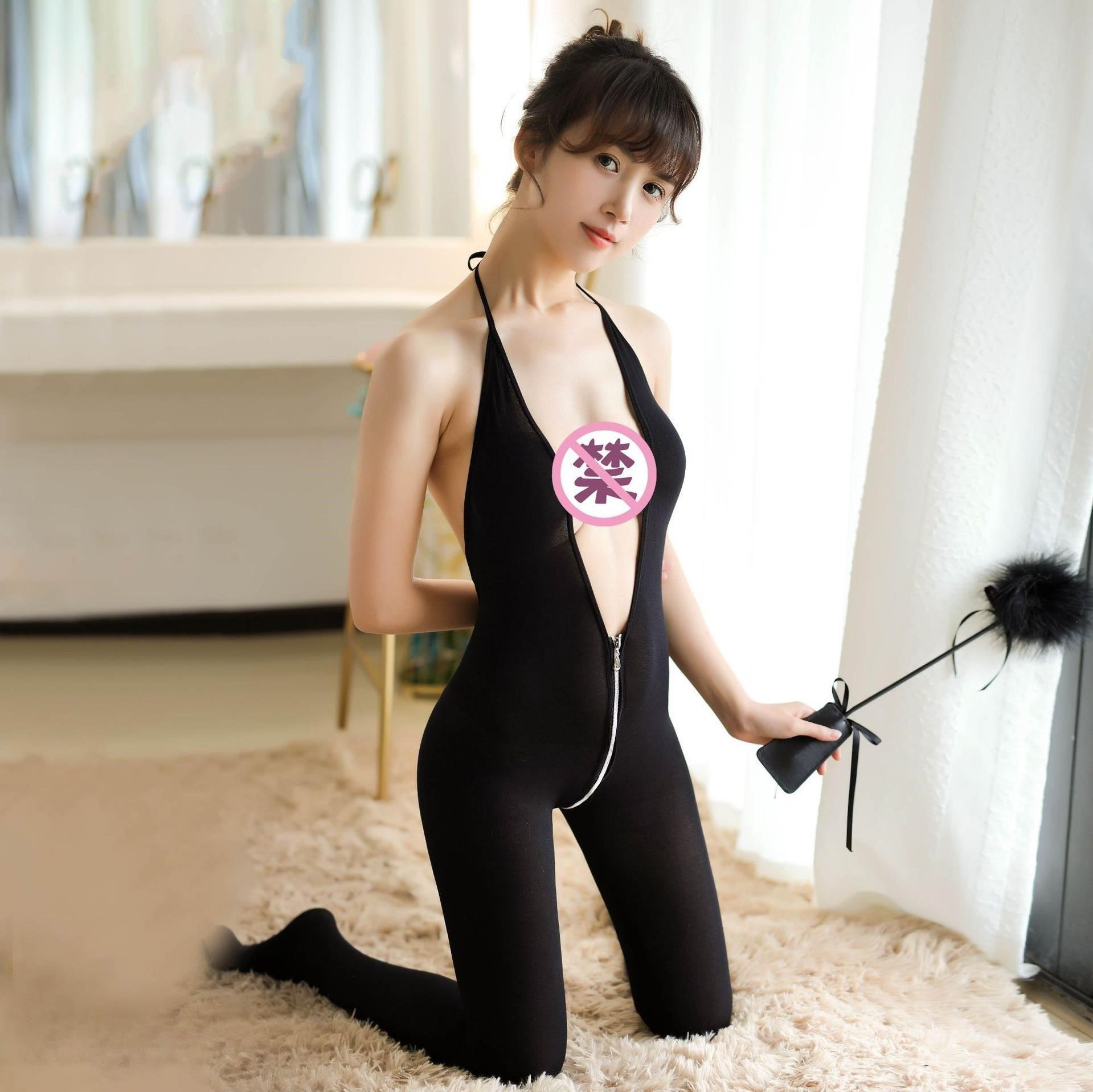 Suit cat woman house without inner K sexy tight rabbit girl ice silk student date dress A-line split