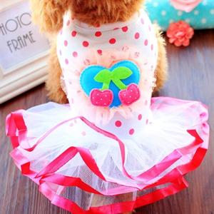 小狗狗衣服春季薄款樱桃公主连身裙泰迪比熊小型犬宠物春夏装