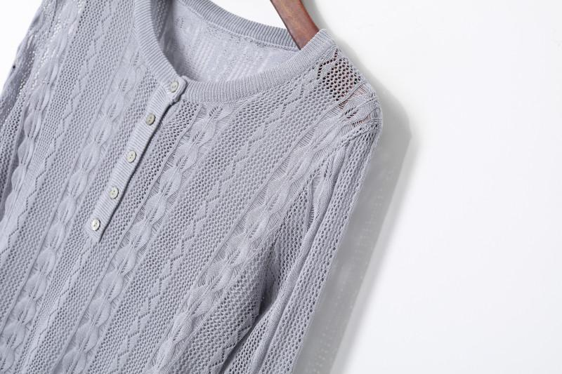 Spring 2020 womens fashion Korean Crochet cut out crew neck button half open Pullover show thin long sleeve sweater
