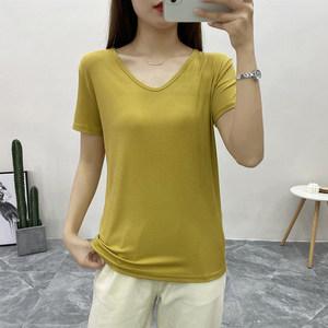 2020夏款韩版螺旋纹棉垂感鸭蛋领纯色打底弹力简约基础短袖T恤女