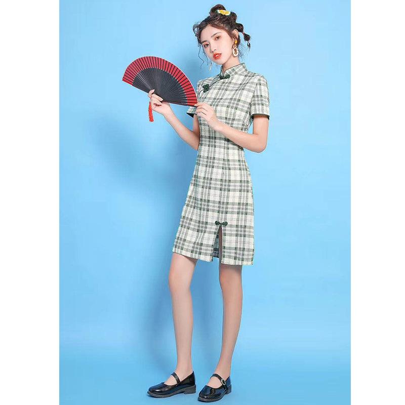 厂家直销夏季新款女装喇叭袖立领盘扣钉珠修身改良旗袍裙包邮