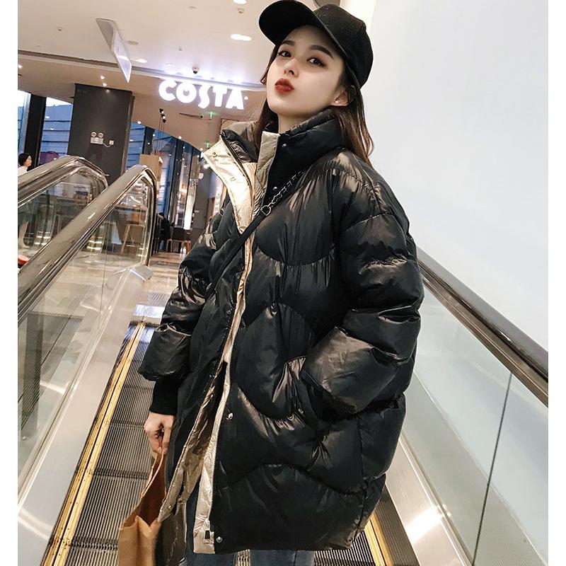 羽绒棉服外套女冬季2019新款韩版百搭面包服宽松棉衣女中长款棉袄