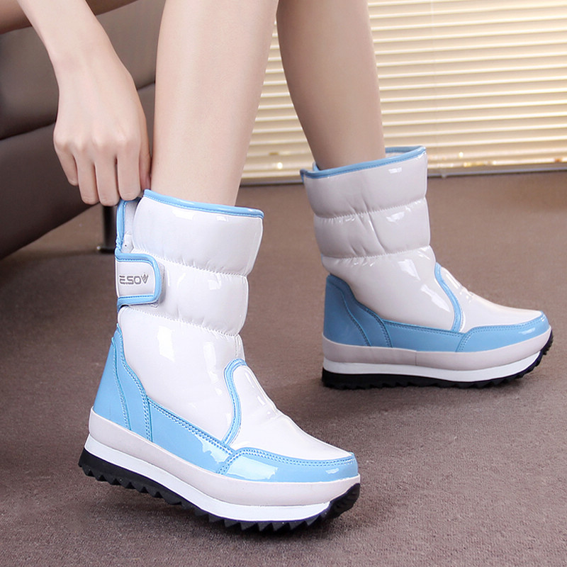 Winter patent leather flat sole thickened snow boots middle tube boots waterproof, antiskid, warm boots snow boots womens Boots