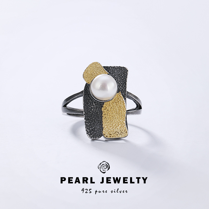 Original design S925 Sterling Silver baroque pearl ring for women