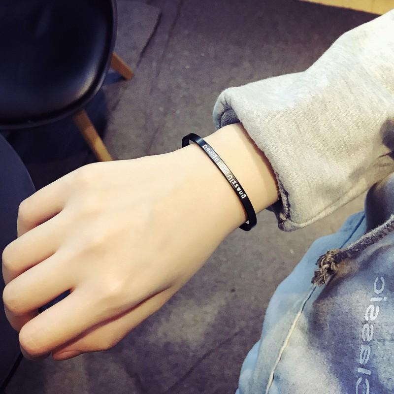 2019 new titanium steel metal bracelet for male and female lovers Korean version simple fashion trend student literature and art movement Bracelet