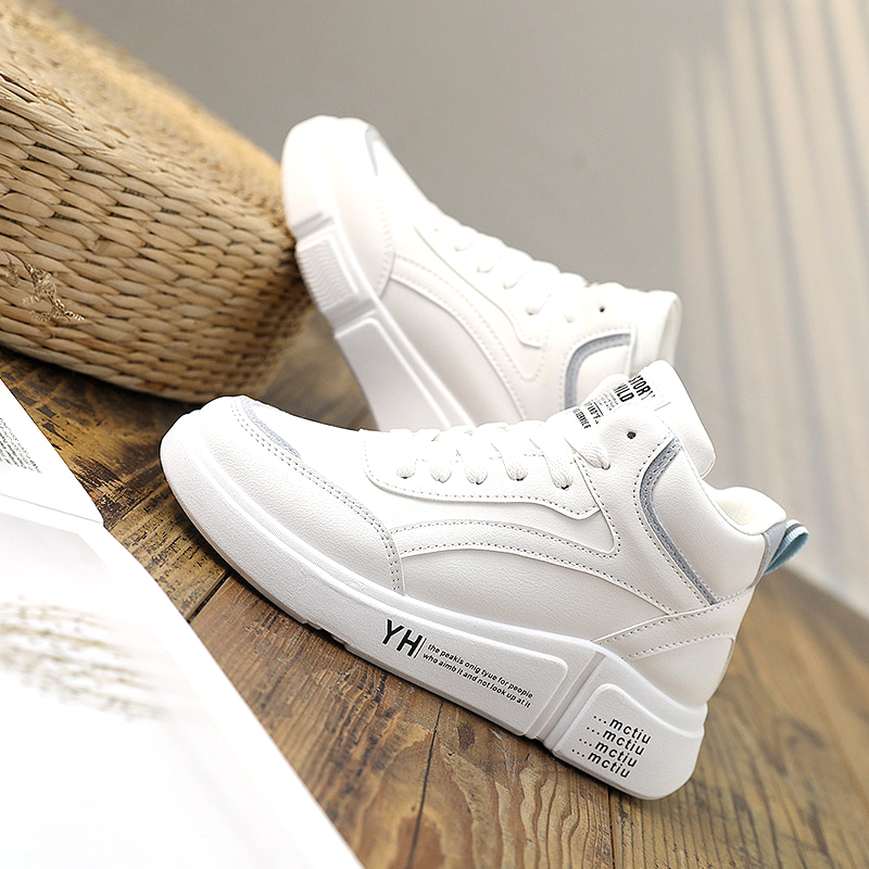 Little white shoes female 2021 spring and autumn new high top dad shoes net red sports casual shoes plush cotton shoes tide shoes
