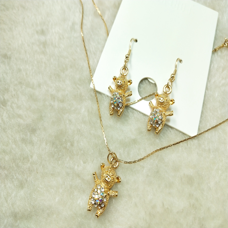 Japanese fashion street net red earrings necklace set D46 texture lovely copper Chain Earrings New Japanese and Korean style