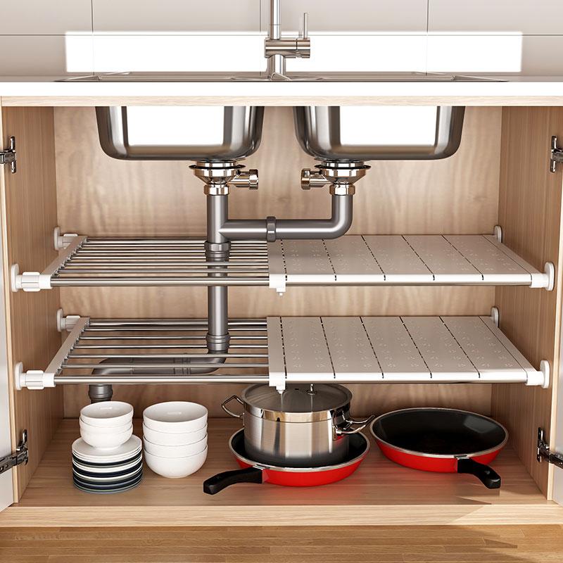 厨房下分层吊柜收纳内隔层水槽架