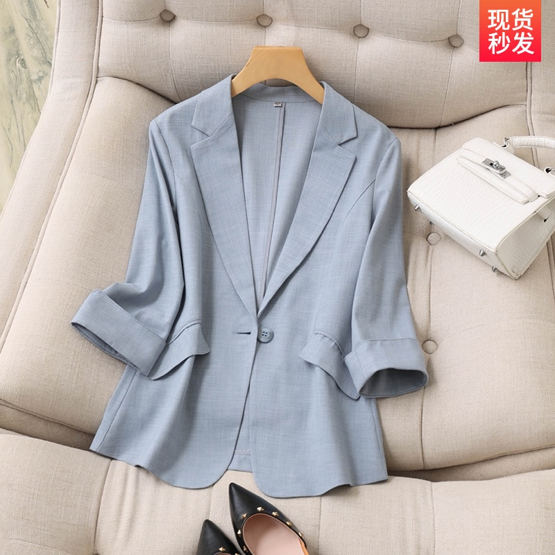 Tianshi linen small suit outside the female thin section seven points sleeves spring and summer new Korean temperament Slim suits women tops