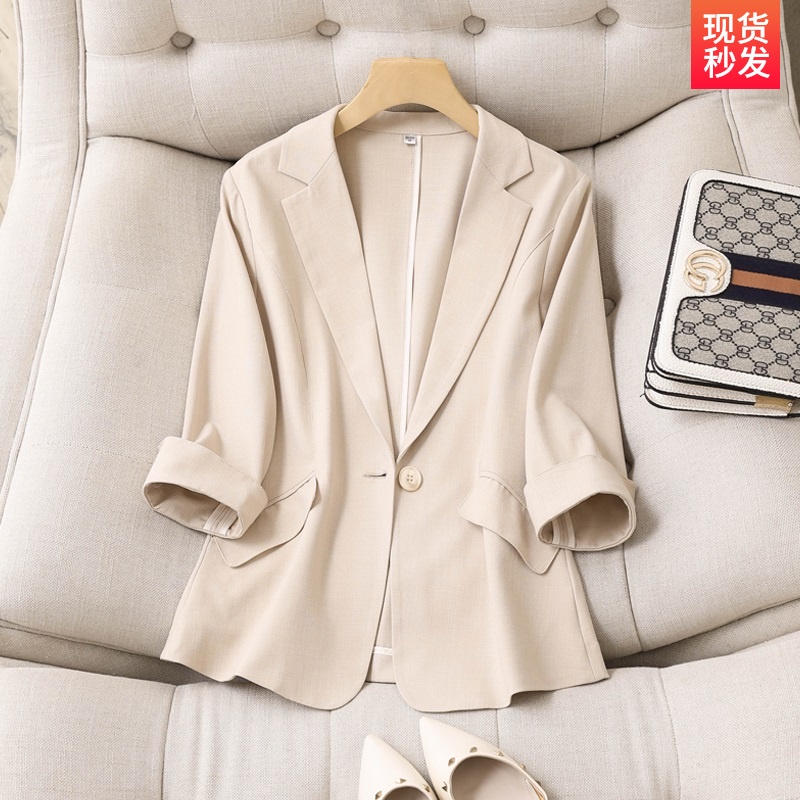 Spring and summer new Korean version of Tianshi linen small suit outline female thin model apricot seven-point sleeve slim suit woman shirt