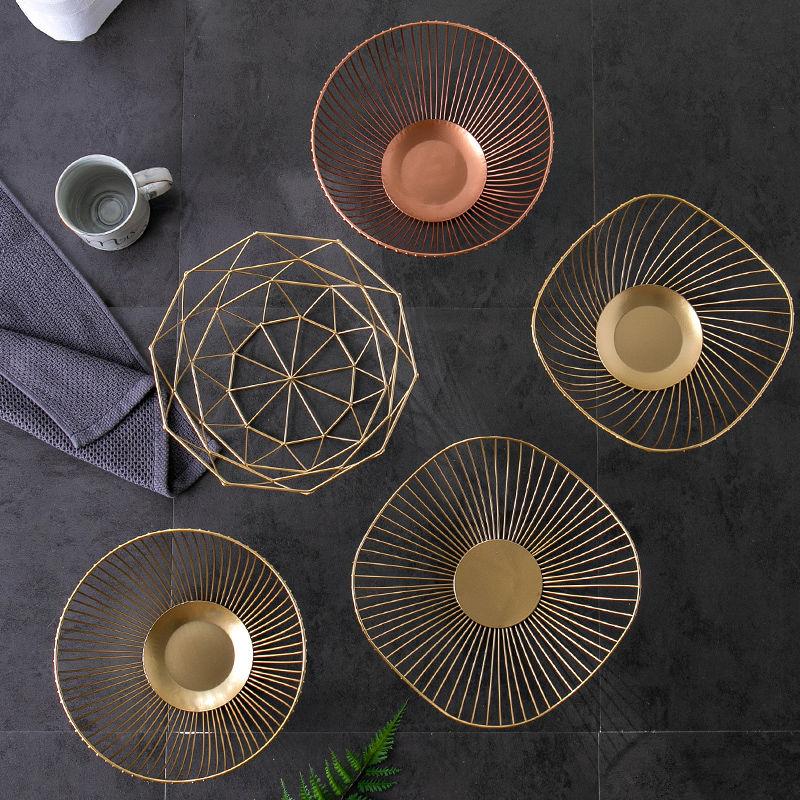 水果盘欧式创意现代客厅家用茶几盆北欧风格网红多功能果盘水果蓝