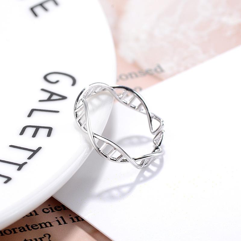 韩版创意镂空个性开口女个性指环清新简约复古新款双螺旋DNA戒指
