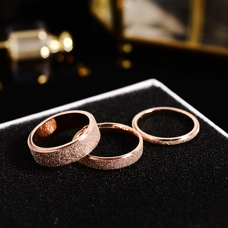 HJ Korean titanium steel plated rose gold frosted couple ring for men and women to abstain food ring, little finger tail ring does not fade
