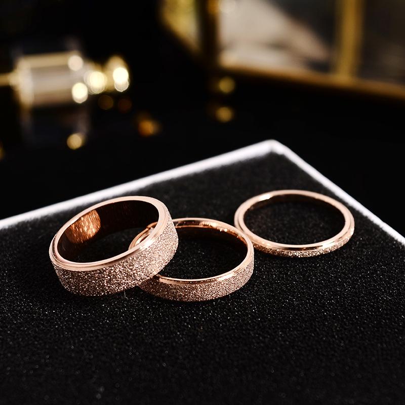 HJ韩版钛钢镀玫瑰金磨砂情侣戒指男女对戒食指环小指尾戒不褪色