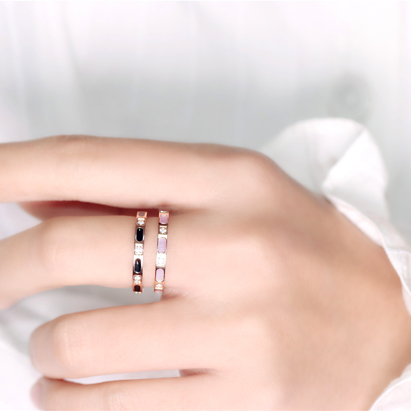 Oyq titanium steel rose gold delicate whole circle color shell inlaid diamond ring fashion index finger ring student finger environmental protection color j060