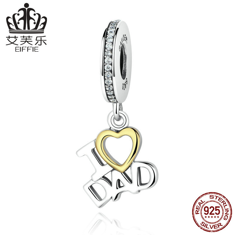 Heart shaped S925 Silver Pendant Necklace small pendant home I love my father dad pendant accessories y scc052